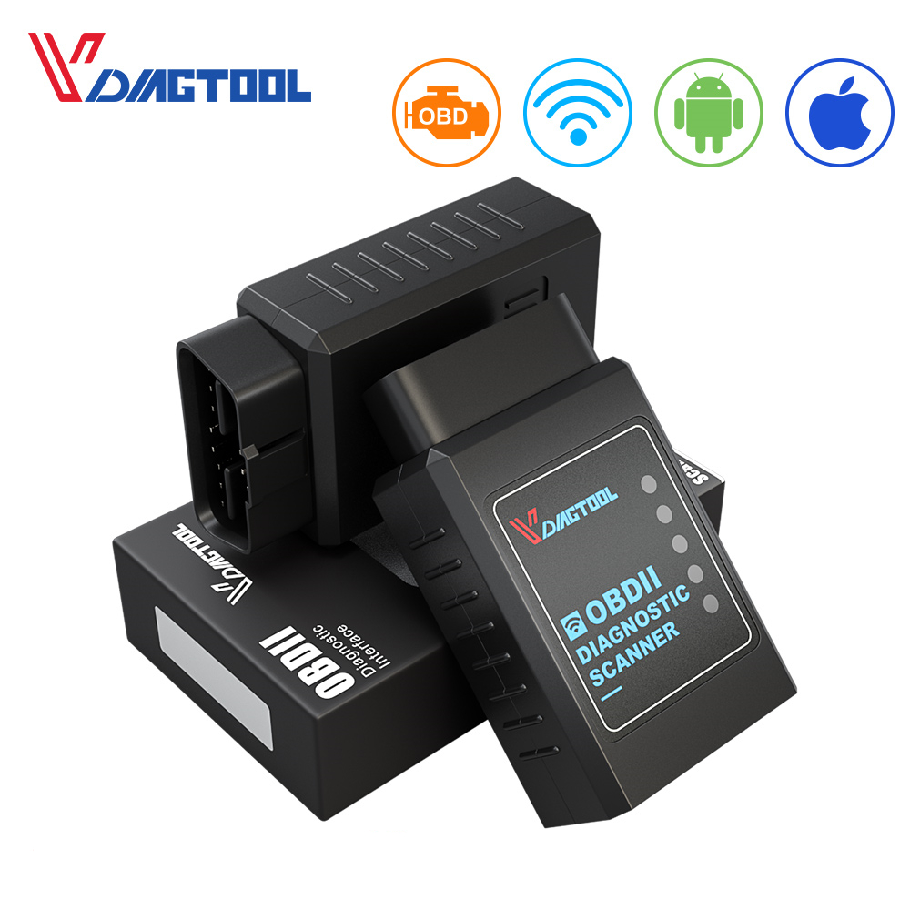 VDIAGTOOL <font><b>ELM327</b></font> <font><b>1.5</b></font> Wifi Version Auto Diagnostic&Scanner Tool ELM 327 Support OBD2 Protocol For Android For IOS Code Reader image
