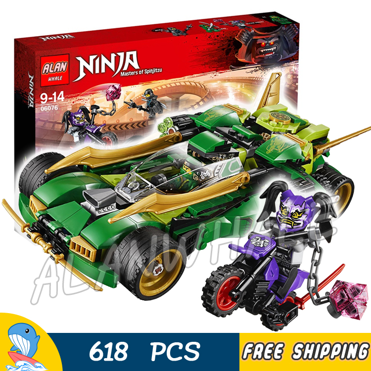 618pcs Ninja Nightcrawler Racing Cars Motorcycle 06076 Model Building Blocks Children Assemble Toys Bricks Compatible With lego