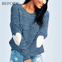 BEFORW 2017 Autumn Winter Fashion O Neck Women Sweater And Pullovers Thick Knitting Long Sleeve Loose