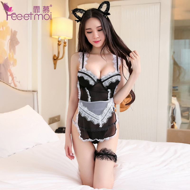 V Neck Strap Apron Maid Uniform Sexy Adjustable Shoulder Strap Erotic Lingerie Sexy Woman Backless Sexy Lingerie Women Underwear in Lingerie Sets from Novelty Special Use