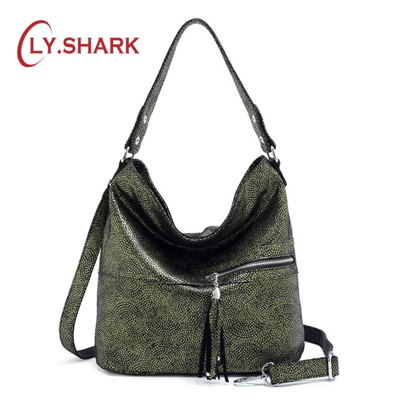 LY SHARK Women Genuine Leather Bag Female Shoulder Bag Ladies Messenger Crossbody Bag Women Fashion Large