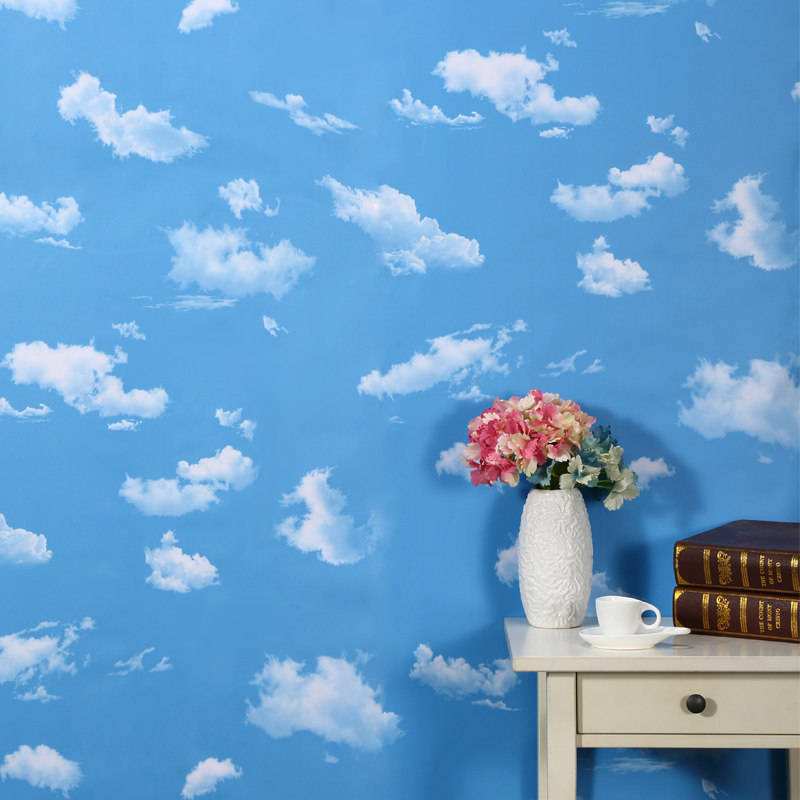 5M Self Adhesive PVC Wallpaper 3D Sky&White clouds Wall Stickers Living Room Bedroom WallPapel Wall Refurbished Home Decor beibehang wallpaper vertical stripes 3d children s room boy bedroom mediterranean style living room wallpaper