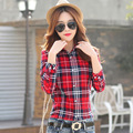 Fashion Women Plaid Shirt Long Sleeve Women Blouses Shirt Women Plus Size Cotton Top Blouse Casual Cotton Shirt Blusas Femininas
