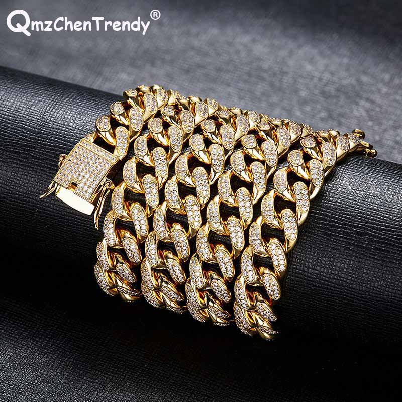 Men Zircon Cuban Miami Chain Necklace Copper Material CZ Clasp Iced Out Gold Silver Hip hop Link Necklace 13mm 18/24/28 inch