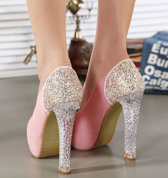 girls glitter sexy crystal wedding shoes high heels platform shoes women  shoes pumps female party pink shoes black pumps Y358-in Women s Pumps from  Shoes on ... db7c86cd891e