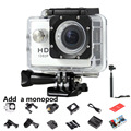 1080P 12MP Video Camera 170 Degree Wide-Angle Sports Action Camera DV with Diving 30M Mini Camcorder+MONOPOD 7 Colors