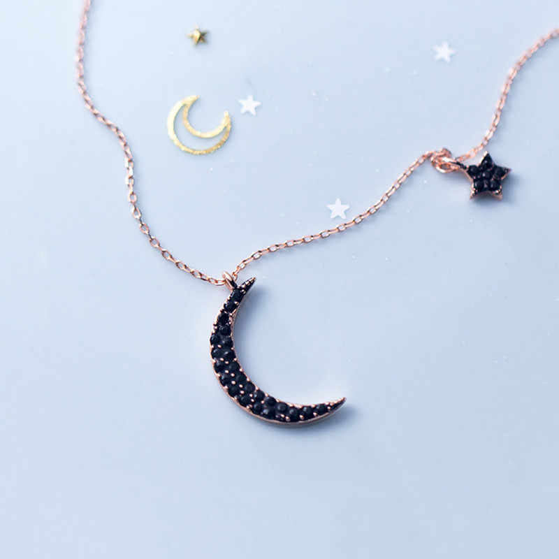 INZATT Real 925 Sterling Silver Black Zircon Moon Star Pendant Necklace For Fashion Women Party Cute Fine Jewelry 2019 Gift