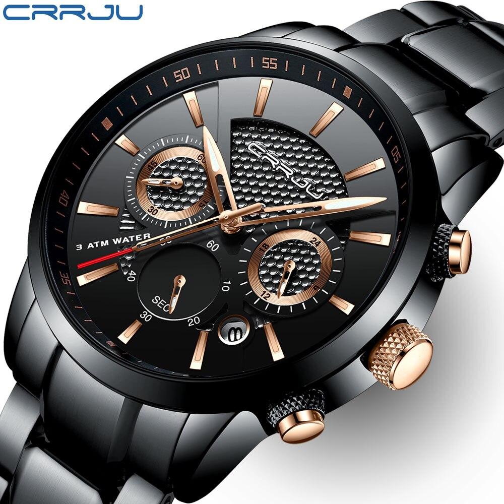 CRRJU hombres reloj 30 m impermeable Mens relojes Top marca de lujo de acero reloj cronógrafo hombre reloj relojes hombre