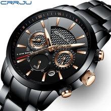 Crrjuメンズ腕時計30メートル防水ファッションメンズ腕時計トップブランドの高級鋼腕時計クロノグラフ男性時計saat relojes hombre