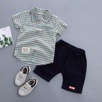 2019 новый летний детский спортивный комплект, одежда для маленьких мальчиков, клетчатая рубашка с лацканами + шорты, комплекты из 2 предметов,