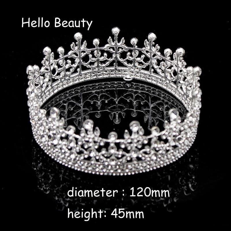 Vintage Color Silver Silver Crystal, Raundin e plotë, Mbretëresha - Bizhuteri të modës - Foto 2