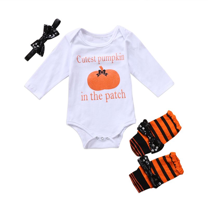 halloween baby boy clothes 2017 new fall bebes newborn pumpkin romperleg warmerheadband 3pcs hot sale baby girl clothing set