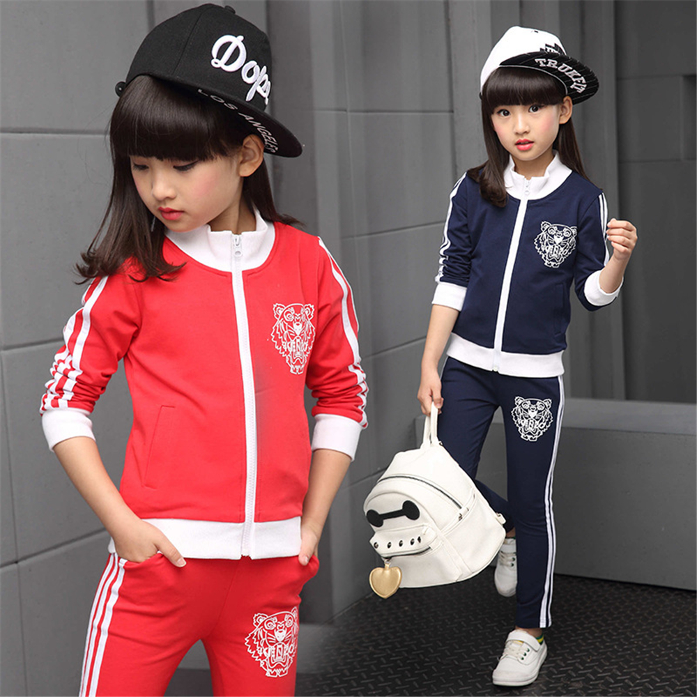 ФОТО 2017 New Kids Girl Sport Suits Spring Jacket+Trousers Set Children Girl Two Piece Clothes Set