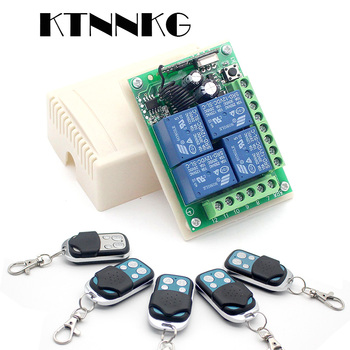 KTNNKG DC 12V 10A 4CH Wireless Remote Switch Relay Module Smart Home Automation Multi-fonction Motor Controller 433MHz Receiver 1