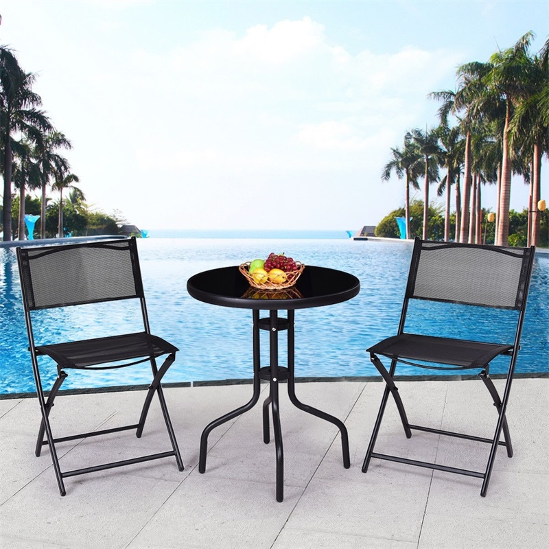 Magnificent Us 80 96 45 Off 3 Pcs Outdoor Folding Bistro Table Chairs Set Minimalist Modern Patio Furniture Sturdy Round Table Folding Armless Chair Op3371 In Bralicious Painted Fabric Chair Ideas Braliciousco