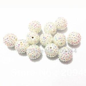 Image 5 - Część hurtowa 2 1, masywne żywiczne koraliki RhinestoneBall dla mody Chunky biżuteria
