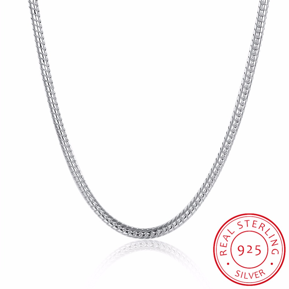 INALIS Men 4MM 50cm 60cm Silver Snake Chain Necklaces