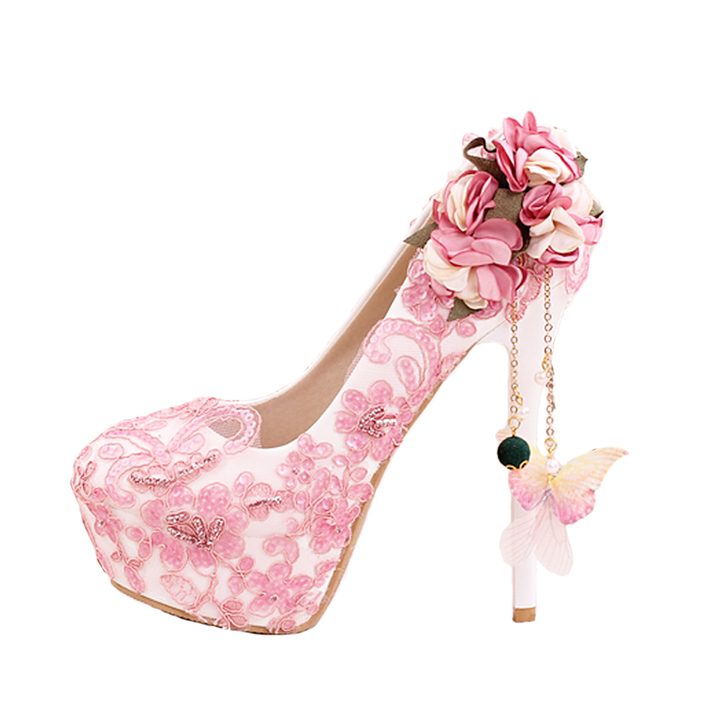 2019 Fashion Crystal Pink Lace Flower Pumps Wedding Shoes Women Thin Heels Ladies Shoes Platform Round Head Shallow Bridal Shoes