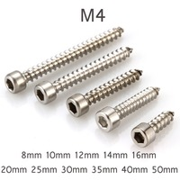 200pcs M4 Round Hex Socket Cap Self Tapping Screw Self tapping Screw 304 Stainless Steel 8 50mm