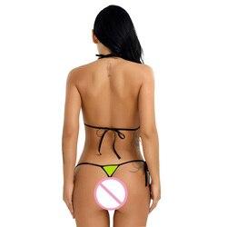 Комплект женского нижнего белья из 2 предметов, ремешки, уздечка, сексуальный популярный топ с завязками по бокам, Т-образный вырез сзади, от... 3