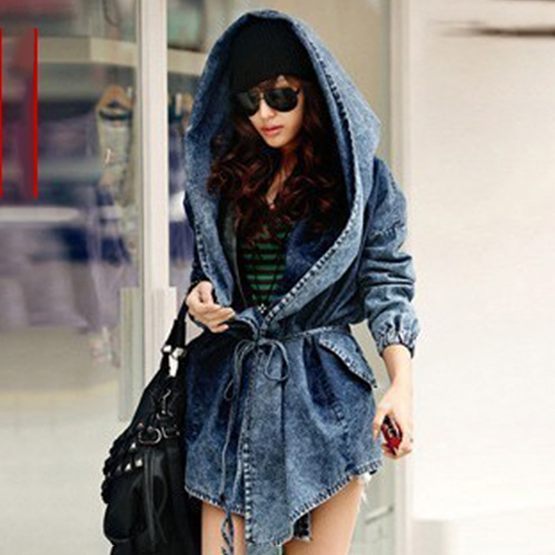 1pc New Fashion Style Spring Autumn Women Loose   Trench   Women Fashion Denim Belt Waist   Trench   Coat Women Coat