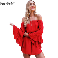 ForeFair Red Black Sexy Slash Neck Flare Sleeve Boot Cut Women Romper Summer Plus Size Ruffles
