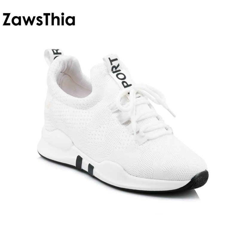 ZawsThia 2018 summer unisex pink white air mesh breathable lace up platform woman shoes outdoor women sneakers shoes big size 43 summer fashion nurse shoes ladies air cushion white sneakers women platform shoes 2018 new lolita shoes swing hot sale big size