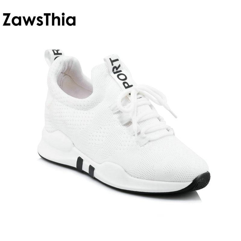 Zawsthia 2018 лето унисекс розовый белый из сетчатого материала дышащая обувь со шнуровкой на платформе женщина обувь Открытый Женские кроссовки... ...