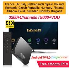 ヨーロッパiptvボックス送料1月iptvフランスアラビアKM9プロスマートアンドロイドテレビ9.0ボックスカナダスペインイタリアポルトガルipテレビドイツiptv
