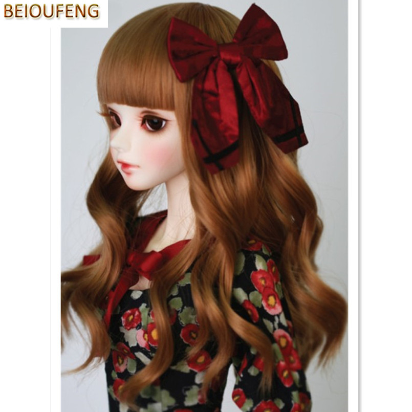 BEIOUFENG 1/3 1/4 BJD Doll Wig Synthetic Doll Hair with Neat Bangs,High Temperature Wire Long Wavy BJD Wig Accessories for Dolls synthetic bjd wig long wavy wig hair for 1 3 24 60cm bjd sd dd luts doll dollfie cut fringe
