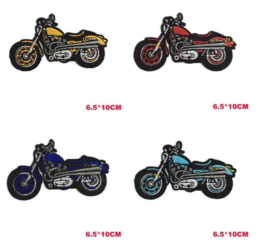 DIY Kids Motorcycle Patches Cartoon Iron on Cute Patches for Clothes Stickers Cheap Embroiderd Biker Patches Punk Applique Badge