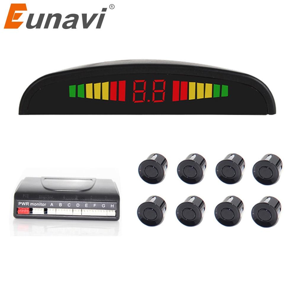 2018 ограниченное по времени предложение-Новые eunavi автомобиля детектор вспять радар светодиодный Дисплей Сенсоры парковочные 8 заднего-детектор Системы парктроник