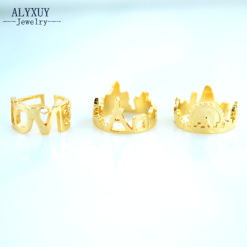 New fashion trendy jewelry LOVE Tower city castle finger ring set 1set=3pieces gift for women girl R5032