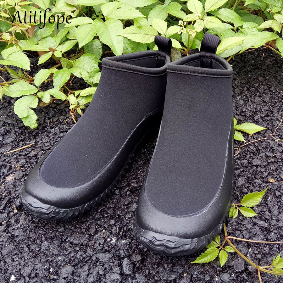 Unisex Neoprene Rain and Gardening Shoes Low Short Shoes Ankle Car Wash Footwear Outdoor for Wet Weather