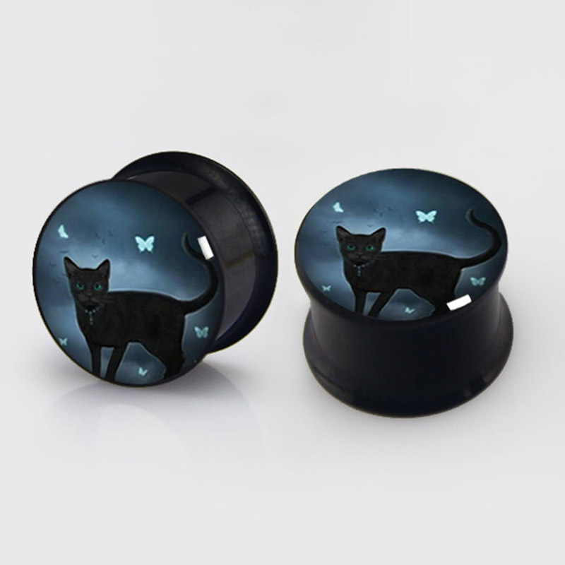 1 pair black cat plugs anodized black ear plug gauges steel flesh tunnel body piercing jewelry 2 pieces