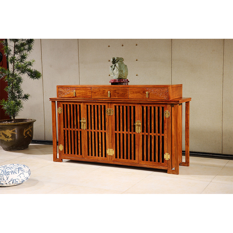 Antique Wooden Plain Four-Door Sideboard Hedgehog Rosewood Dining Room Furniture Classical Drawers