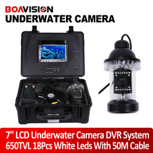 50m Cable Underwater Fishing Camera video Fish Finder with 18pcs White LED Rotate 360 Degree Built-in DVR Recorder Free 4GB Card