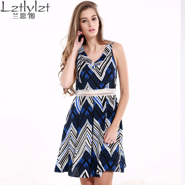 Us 2009 2017 New Direct Selling Polyester Plus Size Dress Aliexpress Amazon Couture Fashion Sexy V Collar Sleeveless Dress Hollow Waist In Dresses