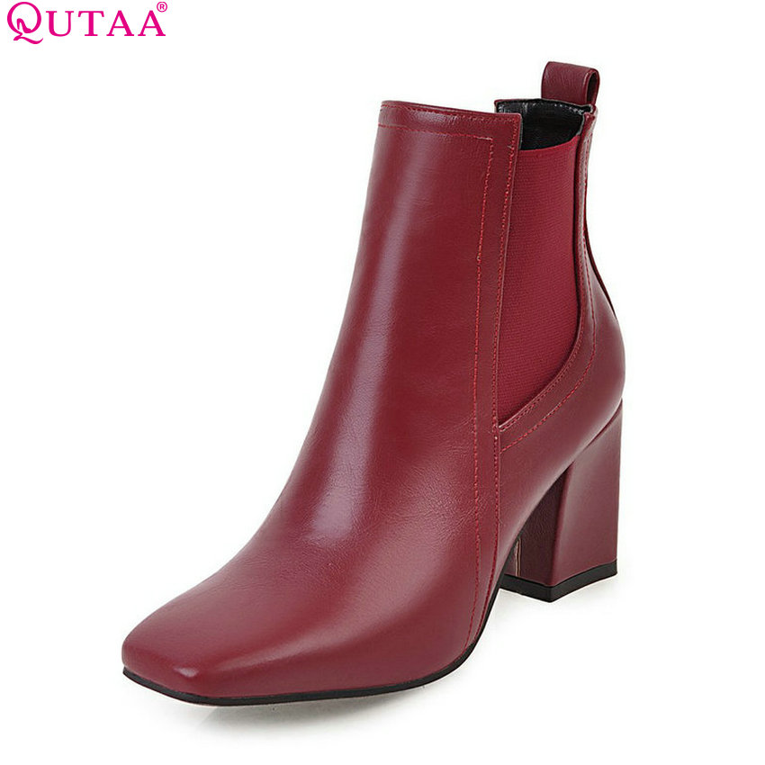 QUTAA 2018 Women Ankle Boots Fashion Zipper Deisgn Pu Leather Square High Heel Square Toe Ladies Motorcyclr Boots Size 34-43 vinlle women boot square low heel pu leather rivets zipper solid ankle boots western style round lady motorcycle boot size 34 43