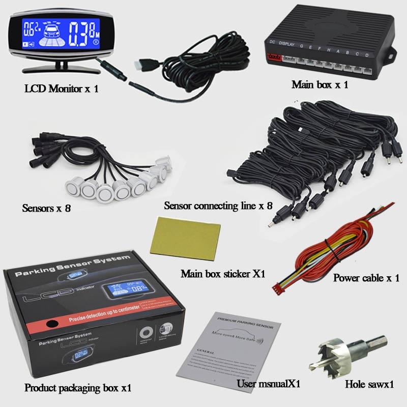 8/capteurs NY5050 voiture LCD Kit de capteur de stationnement affichage pour toutes les voitures Parking voiture détecteur aide au stationnement capteur de stationnement - 4
