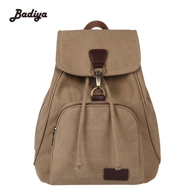 Retro Multifunction Canvas Ladies Students Bookbag Casual Women Backpack Vintage String Womens Back Pack