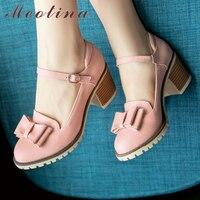 Barato Meotina zapatos de mujer Lolita zapatos de plataforma tacones altos Rosa zapatos Mary Jane arco tacón de bloque señoras zapatos de fiesta de gran tamaño 33-43