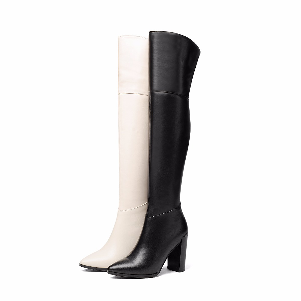 WETKISS Concise Over The Knee Boots Mature Pointed Toe Female Shoes Woman Winter Boots Super High Heel Natural Leather Footwear