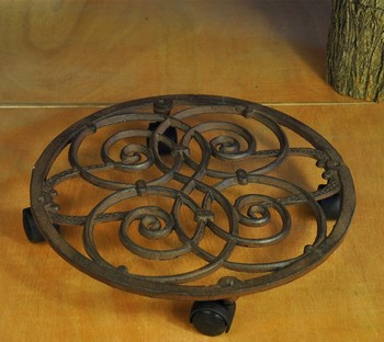 Decorative Cast Iron Plant Stand on floor Round Flower Pot Tray Planter Holder Rack Shelf Mover with Wheel Brown Gardening Decor