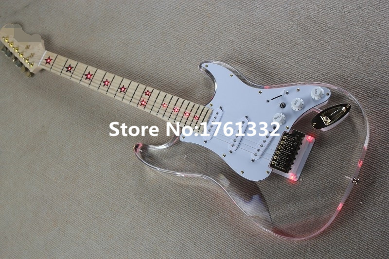 wholesale 6 strings acrylic body pentagram electric guitar with