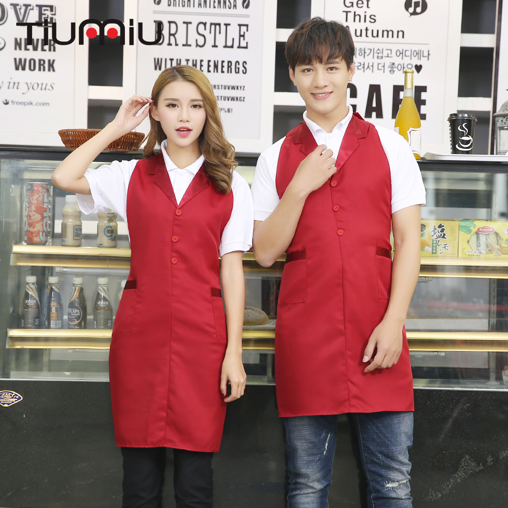 New Arrival Suit Collar Patchwork Chef Aprons With Two Pockets Kitchen Restaurant Cafe Bar Waiter Workwear Apron Chef Uniform