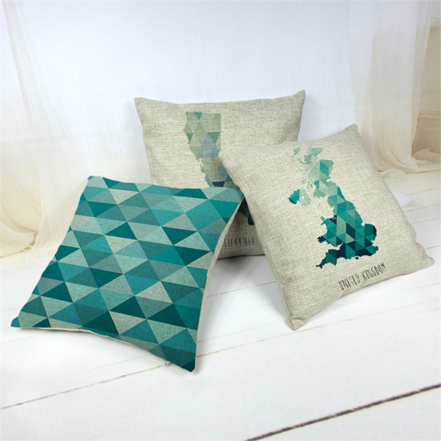 Green Geometric Decorative Cushion Covers 3D Printing Map Sofa Throw Pillow  Covers Sofa Cushion Cover Free