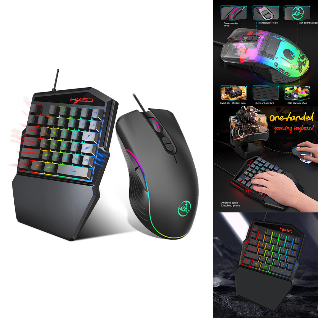 US $8 96 28% OFF|HXSJ HZ22 Ergonomic Multicolor Backlight One Handed Game  wired Keyboard+Mouse-in Keyboard Mouse Combos from Computer & Office on
