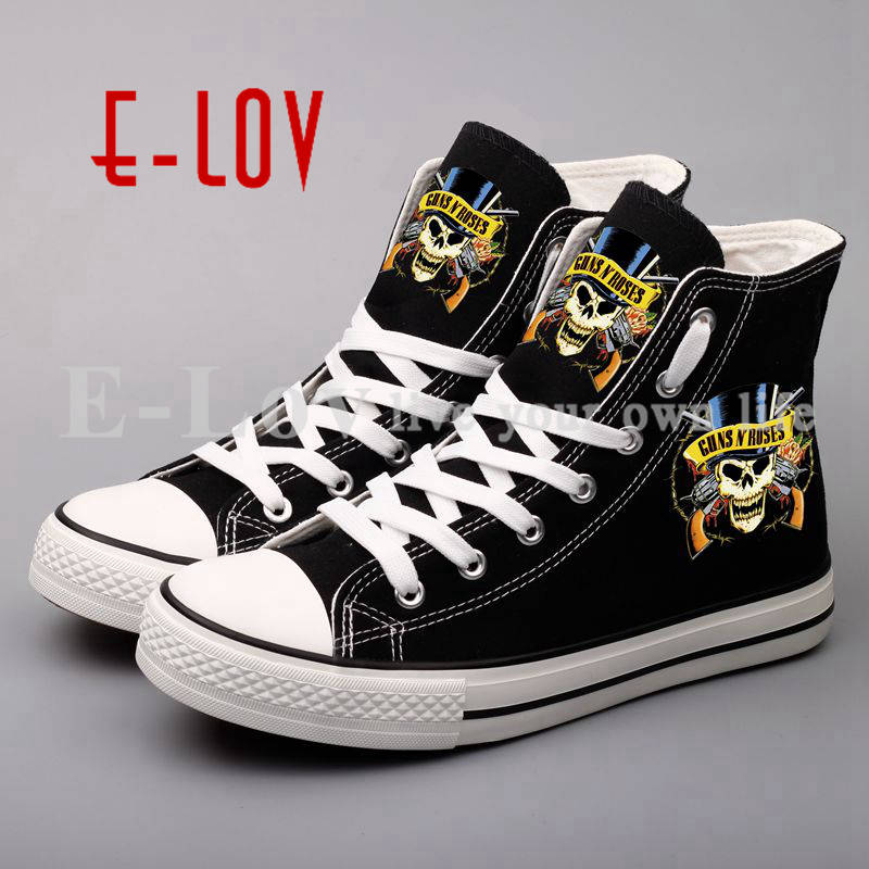 High Top Tenis Shoes Women 2017 Brand Printed Rock Band Gans N Rose Cool Unisex Shoes zapatillas mujer dr gans мойка кухонная	dr gans tekno 650 терра