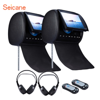 Seicane 9 Car Headrest DVD Player with digital TFT dual speakers FM Games and Zipper Cover Wireless Infrared earphones 1 Pair